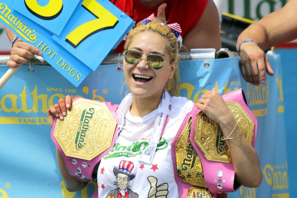 PHOTO: Miki Sudo celebrates after winning the womens annual Nathans Hot Dog Eating Contest on July 4, 2018 in Coney Island.