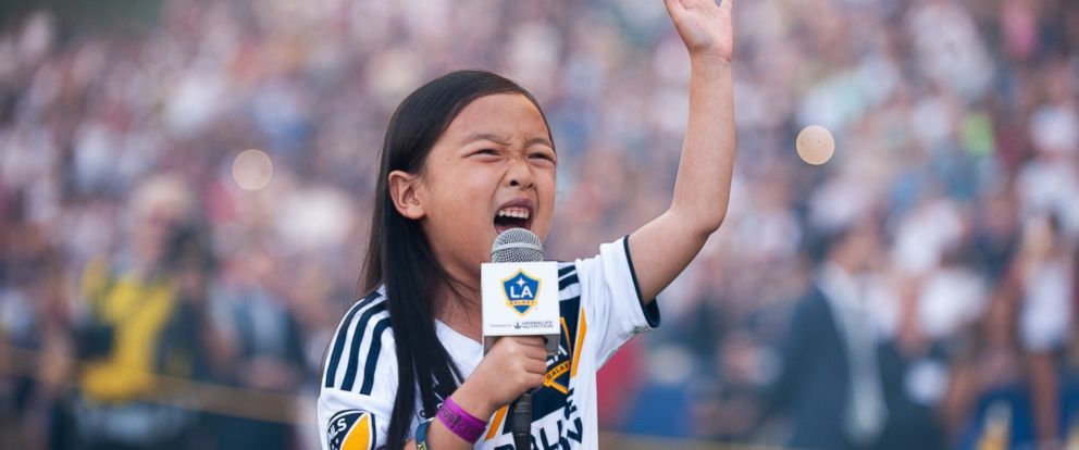 PHOTO: Malea Emma Tjandrawidjaja, 7, performed the national anthem during MLS game between the L.A. Galaxy and Seattle Sounders, Sept. 24, 2018.
