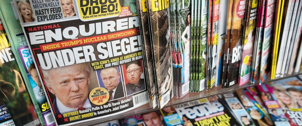 PHOTO: This July 12, 2017 file photo shows an issue of the National Enquirer featuring President Donald Trump on its cover at a store in New York.