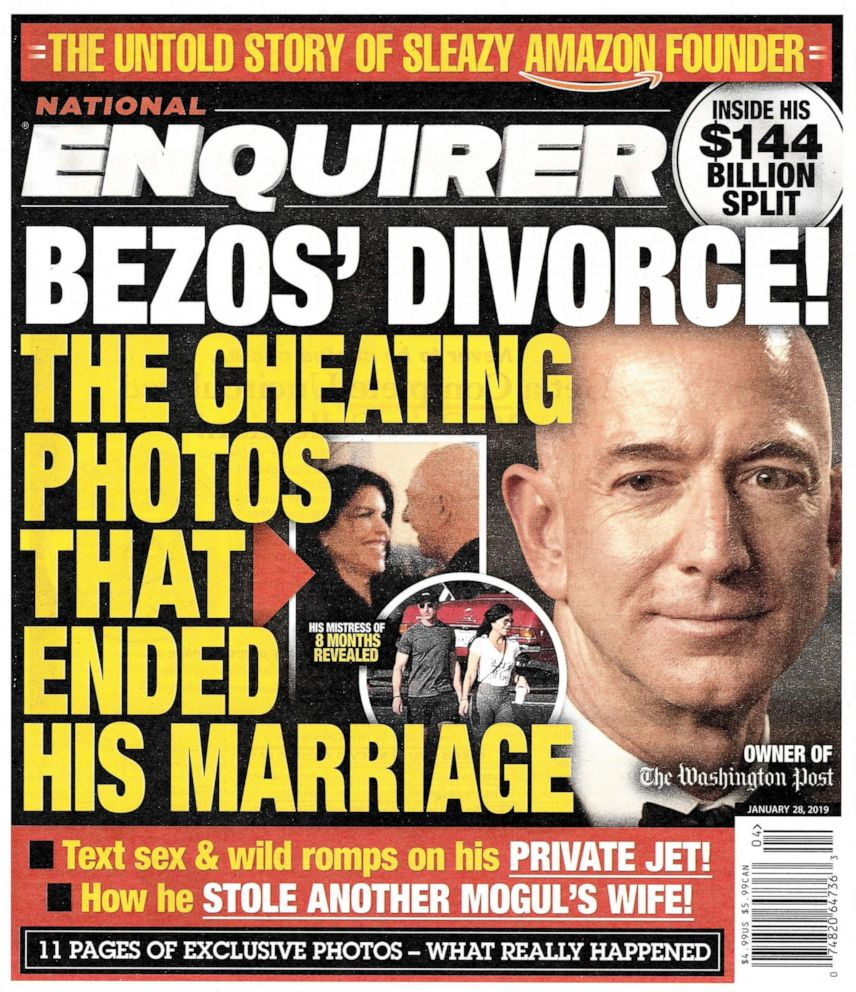 PHOTO: This image shows the front page of the Jan. 28, 2019, edition of the National Enquirer featuring a story about Amazon founder and CEO Jeff Bezos divorce.