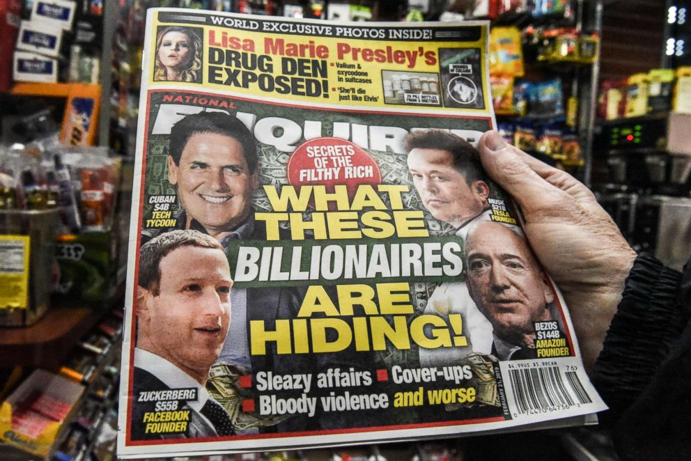 A copy of the National Enquirer is photographed at a convenience store on Feb. 8, 2019 in New York.