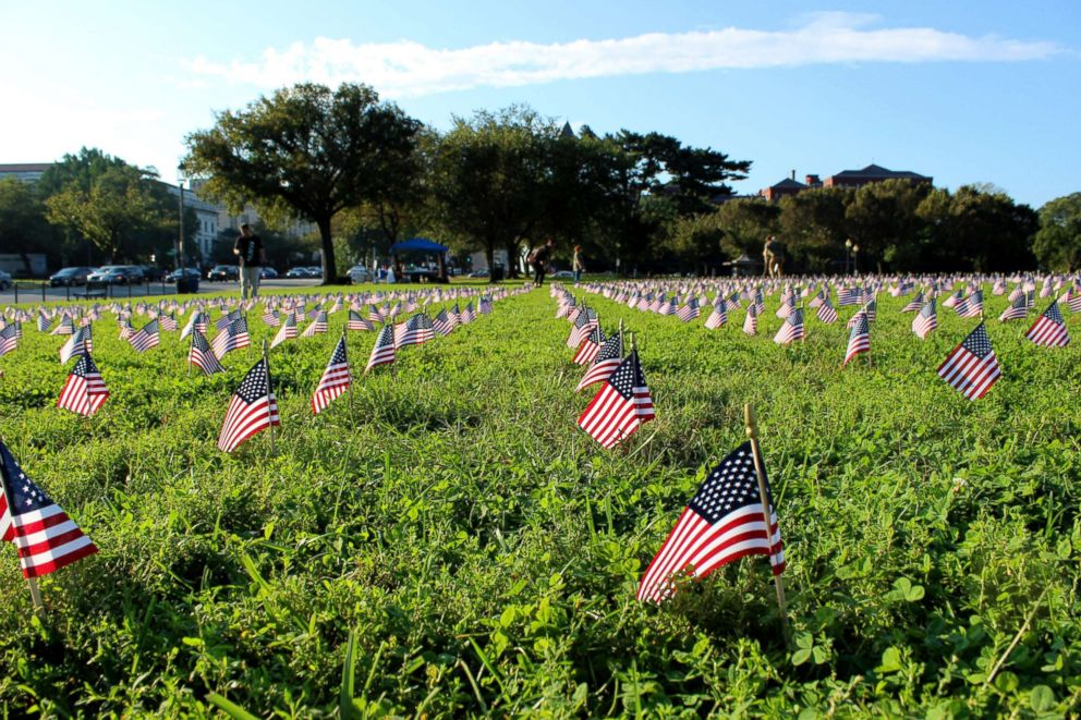 PHOTO: Iraq & Afghanistan Veterans of America, a veterans service organization, placed 5,520 American flags on the grounds of the National Mall to honor every veteran and military suicide that occurred in 2018 so far.