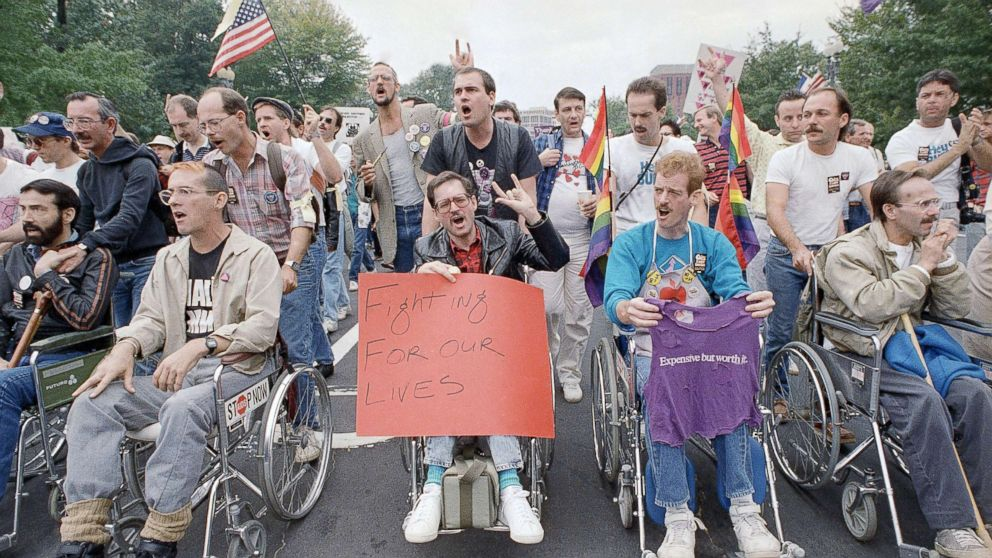 Terminally ill victims of Aids are pushed in wheelchairs as they participate in the National March on Washington for Lesbian and Gay Rights, Oct. 11, 1987.