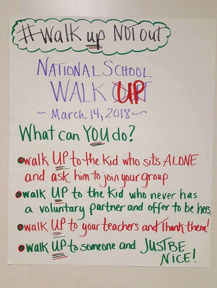 PHOTO: Teacher Jodie Katsetos posted this message to students at Arcadia Middle School in Oak Hall, Va., on March 14, 2018.