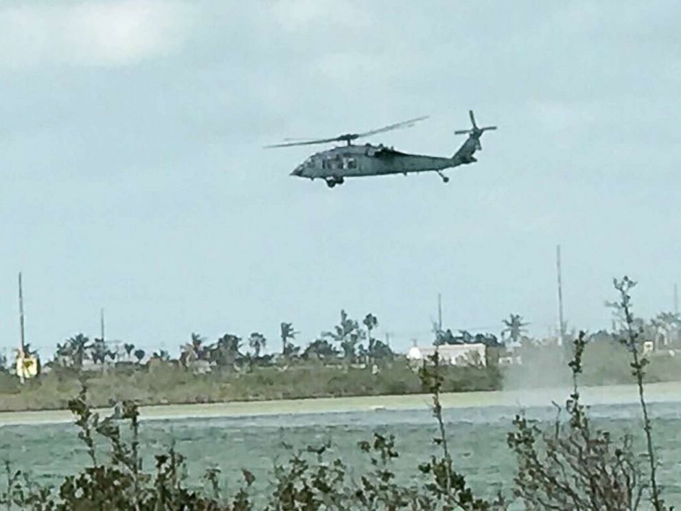 PHOTO: This photo obtained by ABC News shows a Navy SH-60 conducting search and rescue operations for a F/A-18 jet after it crashed off the coast of Key West, Fla., on March 14, 2018.