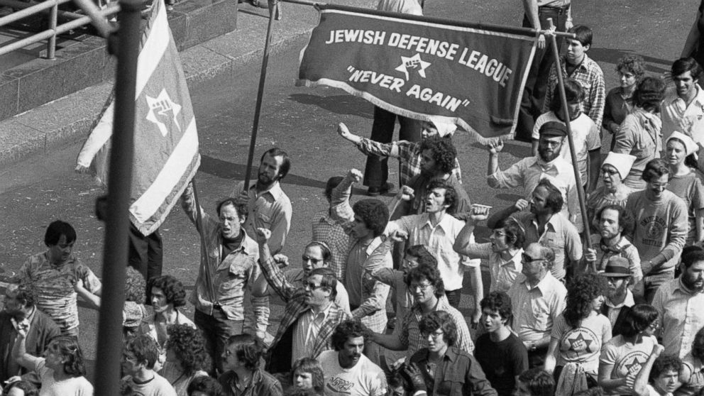 Counter-demonstration march in Chicago plaza on June 24, 1978, against a planned march by a group of Nazis at the city's federal building.