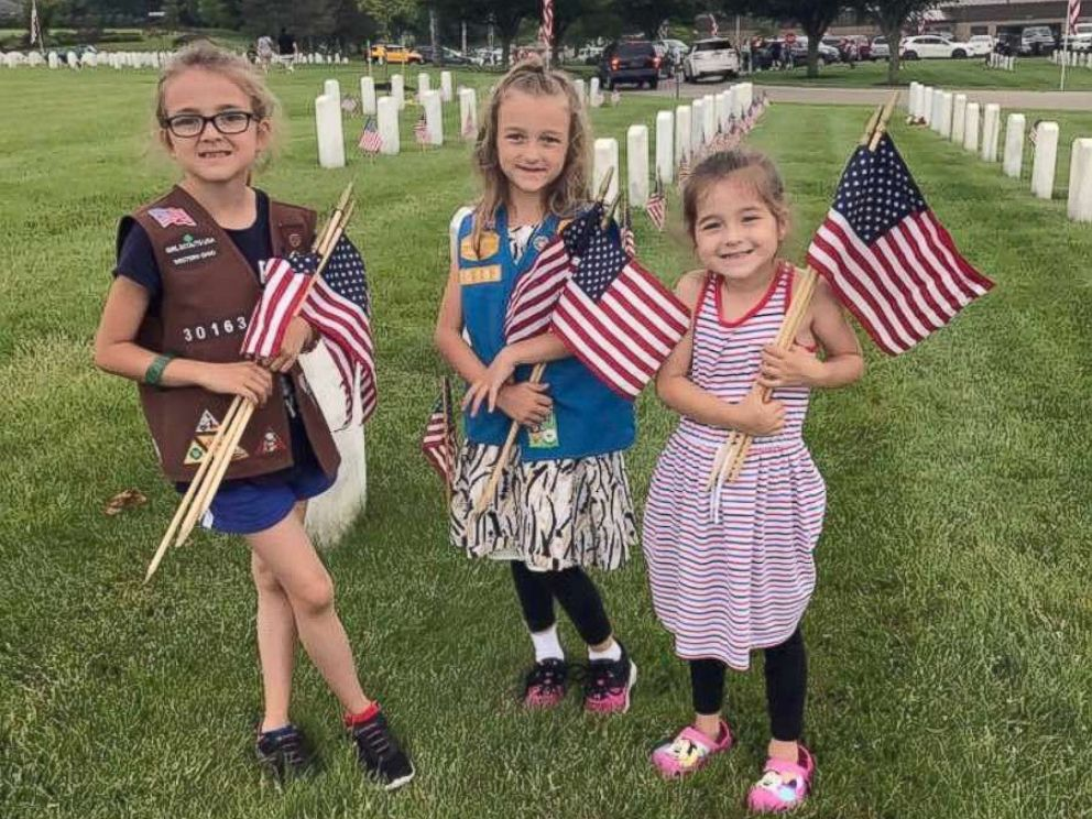PHOTO: Capt. Gallaghers daughters, Lacey, Mollie and Aimee on Memorial Day in 2017.