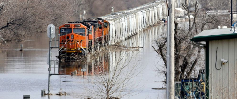 PHOTO: A BNSF train sits in flood waters from the Platte River, in Plattsmouth, Neb., Sunday, March 17, 2019.