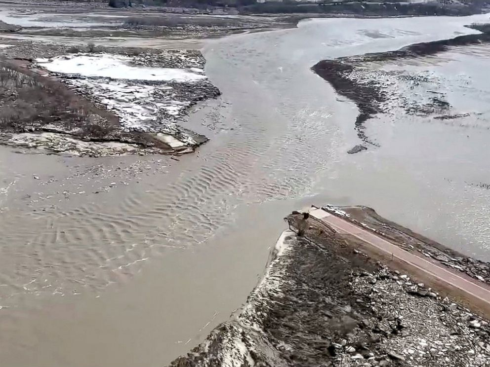 PHOTO: Highway 12 is seen damaged after a storm triggered historic flooding, over Niobrara River, Neb., March 16, 2019.