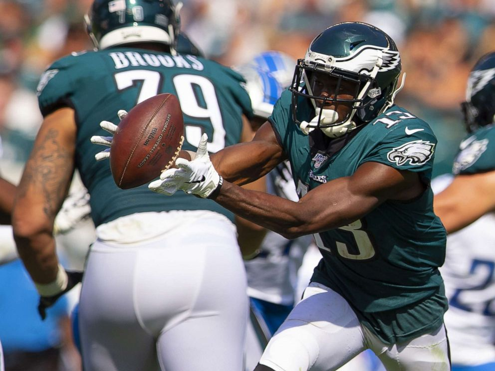 PHOTO: Nelson Agholor #13 of the Philadelphia Eagles catches the ball in the third quarter against the Detroit Lions at Lincoln Financial Field on September 22, 2019, in Philadelphia.