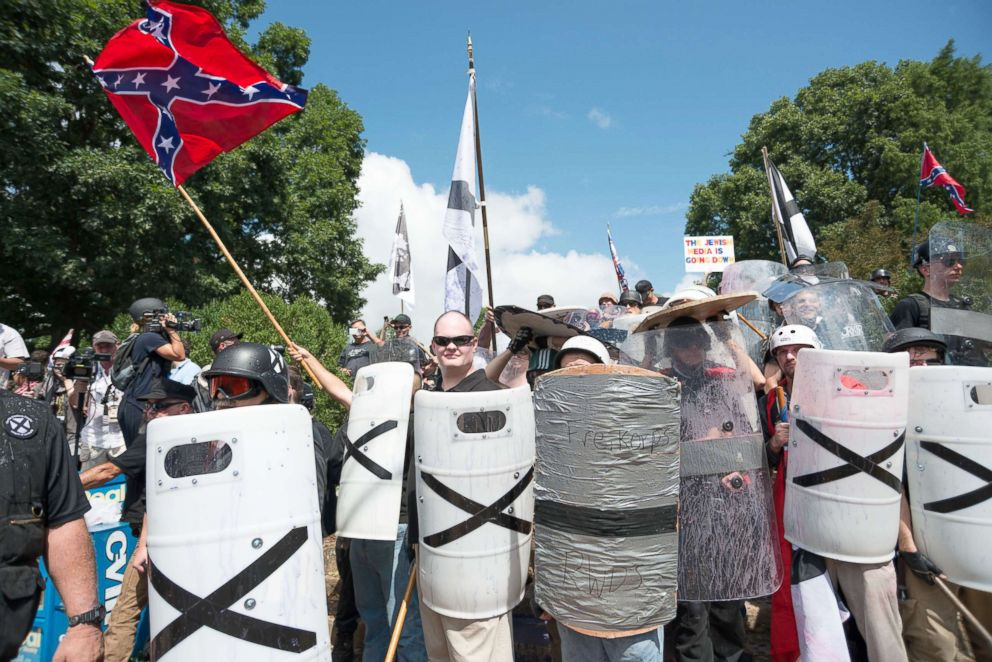 PHOTO: Neo-Nazis, white supremacists and other alt-right factions scuffled with counter-demonstrators near Emancipation Park (Formerly Lee Park), Aug. 12, 2017, in downtown Charlottesville, Va.