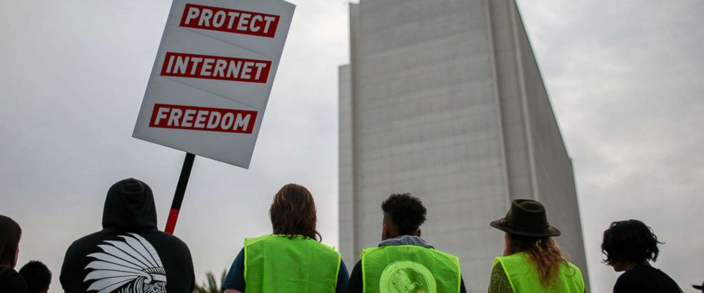 PHOTO: Supporters of Net Neutrality protest the FCCs recent decision in Los Angeles, Nov, 28, 2017.
