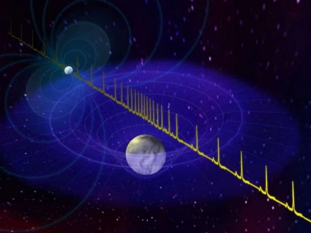 PHOTO: Artist impression of the pulse from a massive neutron star being delayed by the passage of a white dwarf star between the neutron star and Earth.