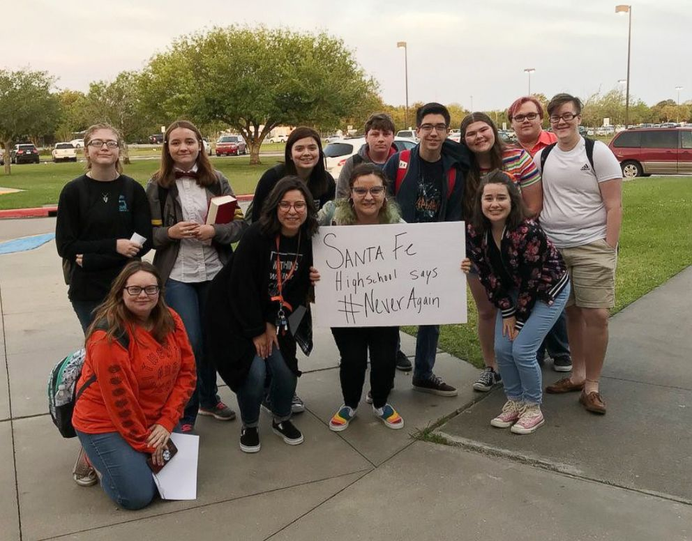 PHOTO: Students at Santa Fe High School participated in a nationwide school walkout against school gun violence, April 20, 2018.