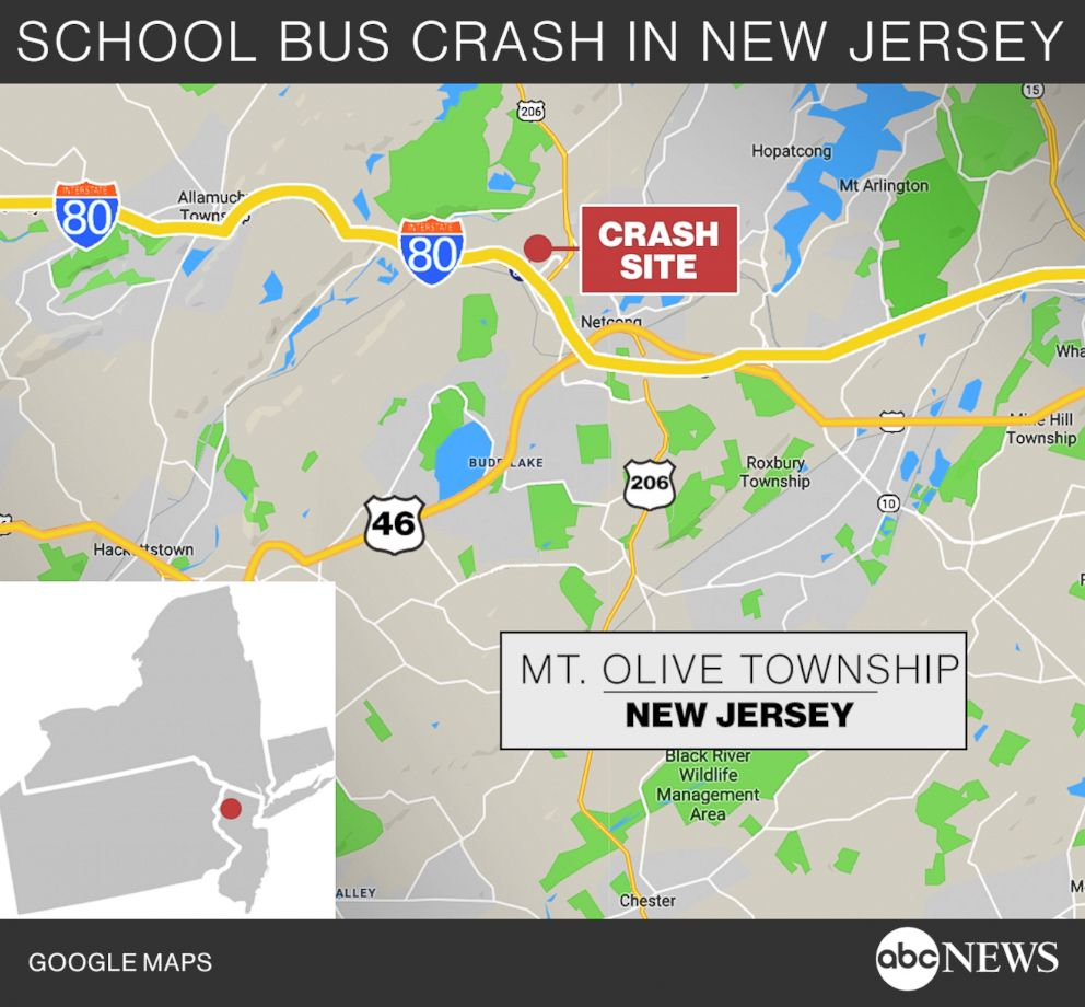 PHOTO: A locator map shows the location of a fatal school bus crash in Mt. Olive Township, N.J., May 17, 2018.