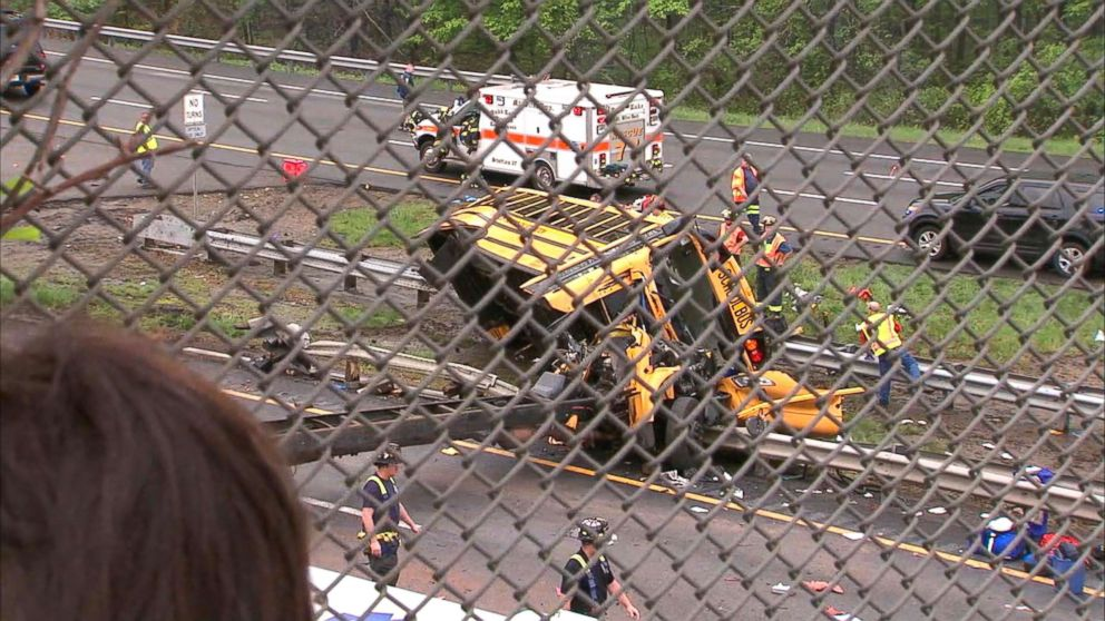 PHOTO: Emergency crews respond to the scene where a school bus collided with a dump truck near Mount Olive Township, N.J., May, 17, 2018.