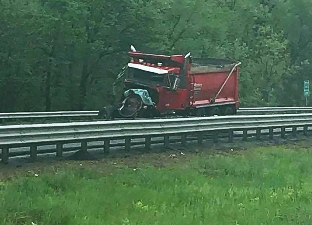 PHOTO: A truck is seen following a crash in Mount Olive Township, N.J., on May 17, 2018, in this picture obtained from social media.