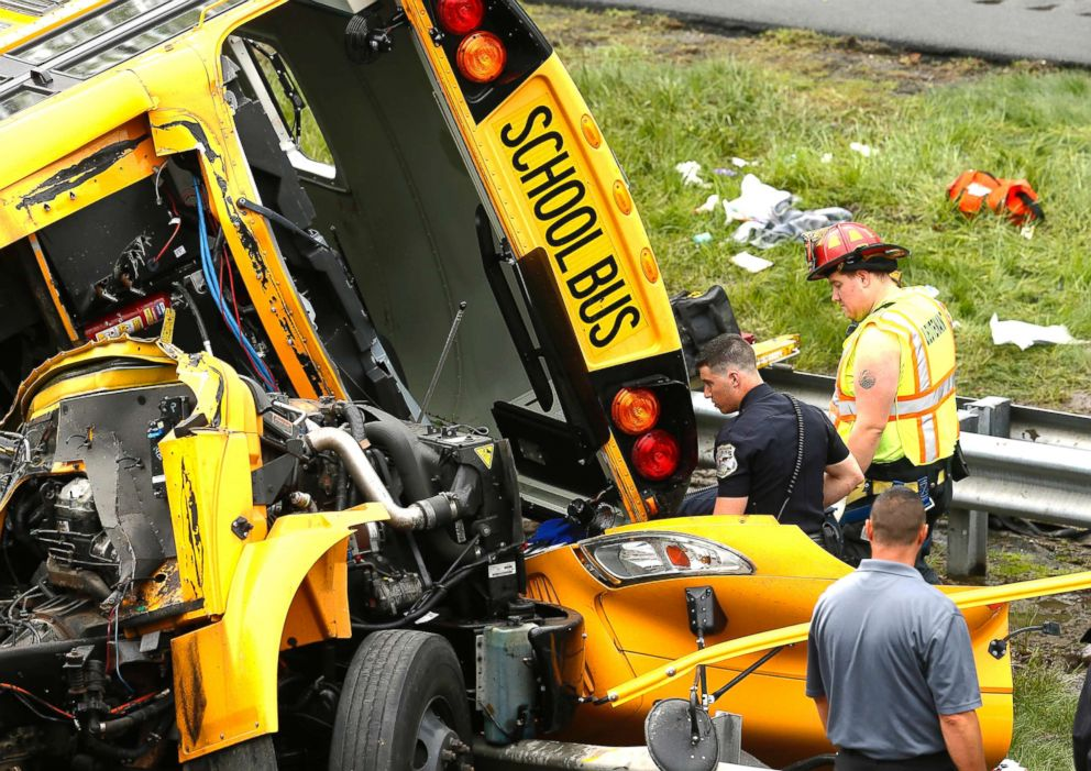 PHOTO: Multiple injuries have been reported after a serious crash between a school bus carrying middle school students and a dump truck on a New Jersey highway, according to police, May 17, 2018.