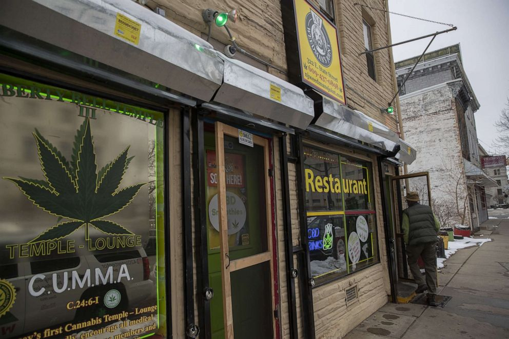 PHOTO: A customer enters NJ Weedman's Joint restaurant in Trenton, N.J., on Feb. 12, 2021.