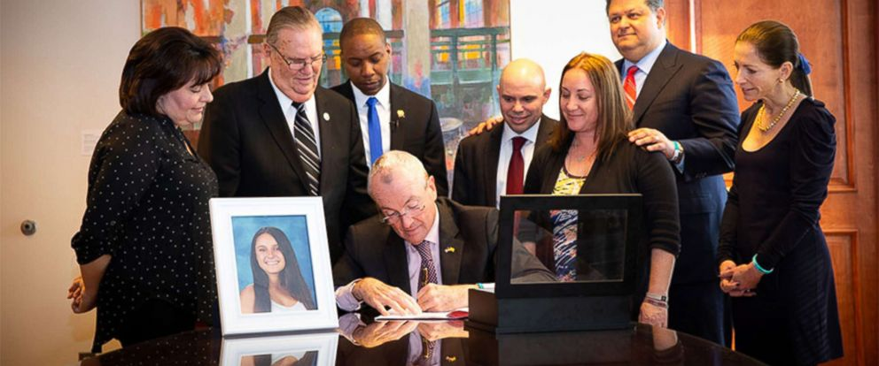 "PHOTO: New Jersey Governor Phil Murphy signs ""Alyssas Law,"" requiring New Jersey public schools to install silent alarms to alert law enforcement in case of emergencies, in Trenton, N.J., Feb. 6, 2019."