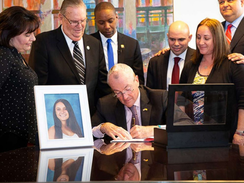 PHOTO: New Jersey Governor Phil Murphy signs Alyssas Law, requiring New Jersey public schools to install silent alarms to alert law enforcement in case of emergencies, in Trenton, N.J., Feb. 6, 2019.