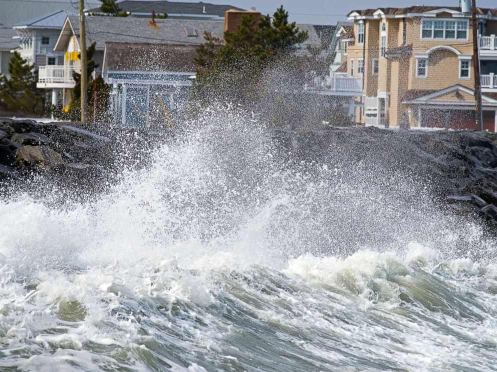 PHOTO: In this undated stock photo, waves crash against the seawall in Avalon, N.J.