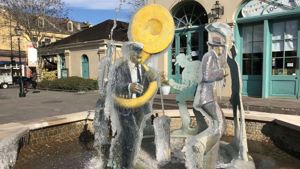 A frozen fountain located near Jackson Square in New Orleans, Jan. 2, 2018.