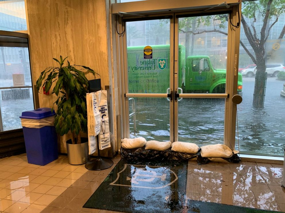PHOTO: A Tulane University building floods in New Orleans, July 10, 2019.