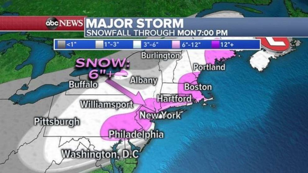 PHOTO: Snowfall totals will be highest stretching northeast from Philadelphia through New York City, Boston and Portland, Maine.