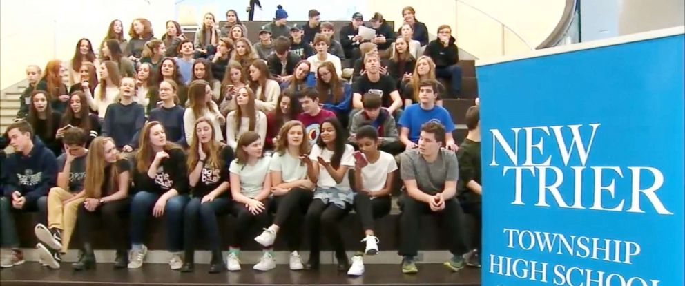 PHOTO: Students poses for a group photo in this image captured from video.