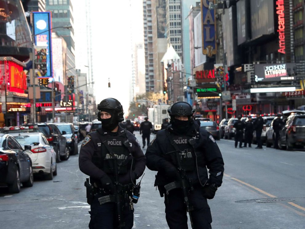PHOTO: Police officers stand on a closed West 42nd Street near the New York Port Authority Bus Terminal after reports of an explosion in New York, Dec. 11, 2017.