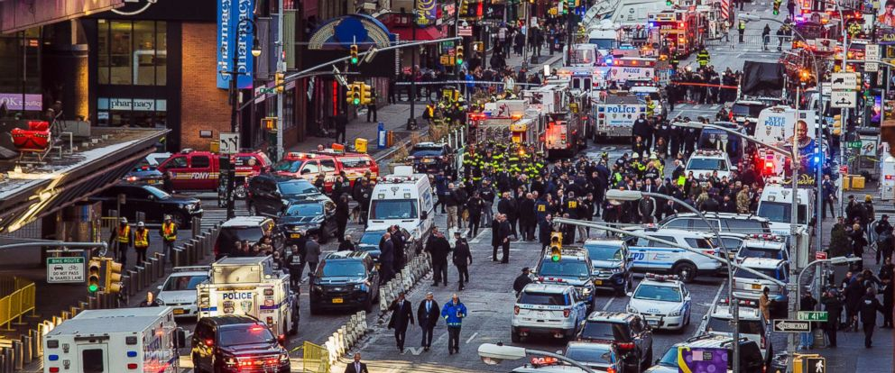 PHOTO: Law enforcement officials work following an explosion near New Yorks Times Square on Dec. 11, 2017.