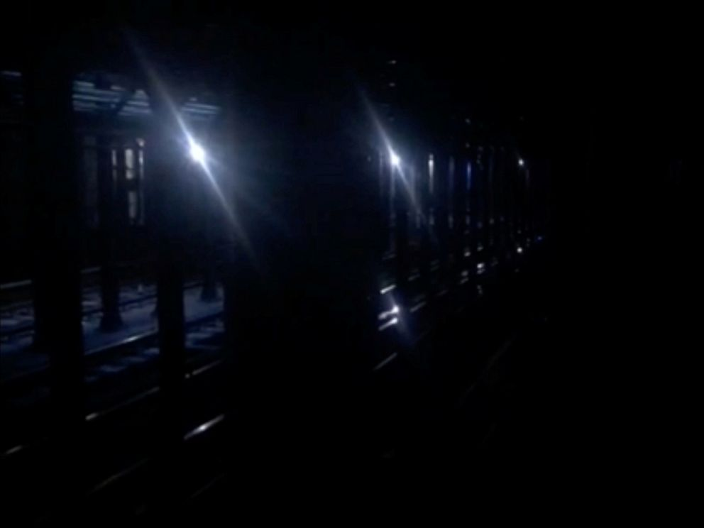 PHOTO: Tracks at the 66th Street station seen during a blackout caused by widespread power outages, in this still frame taken from video, in New York City, July 13, 2019.