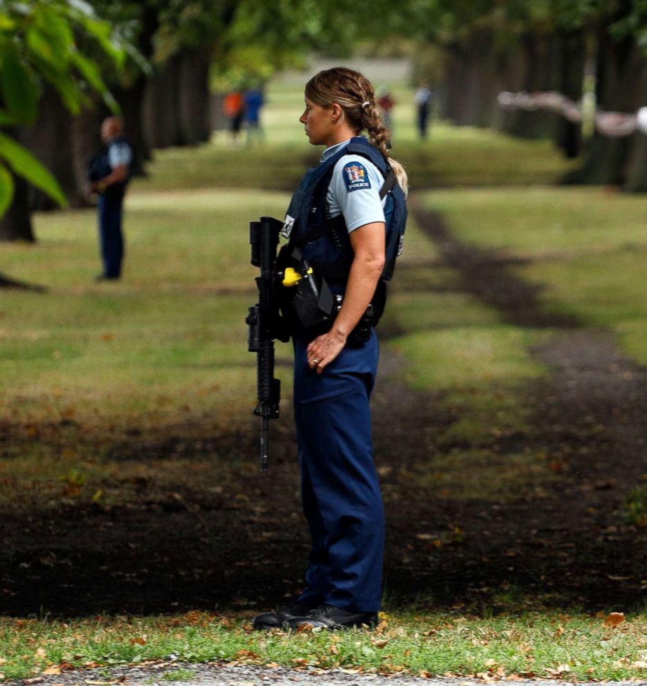 PHOTO: Police officers guard the area near the Masjid al Noor mosque after a shooting incident in Christchurch, March 15, 2019.