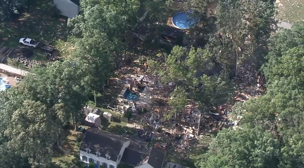 PHOTO: Two people died in a house explosion in Newfield, N.J., on July 7, 2018, officials said.