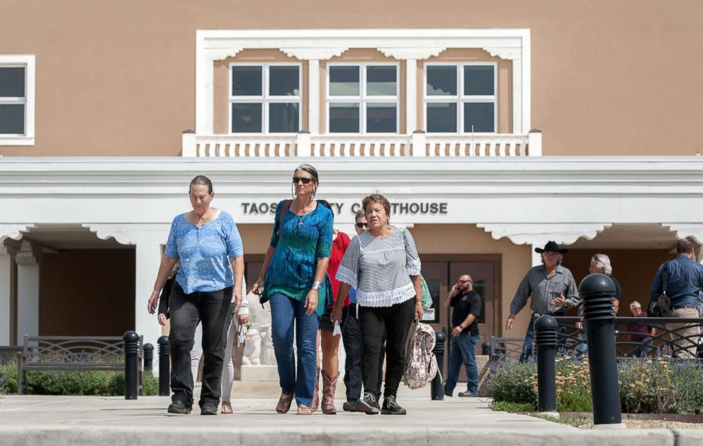 County employees were evacuated after the Taos County Courthouse was closed due to security reasons, August 14, 2018. Judge Sarah Backus has received several threats since ordering the release of the suspects arrested in the Amalia compound case.