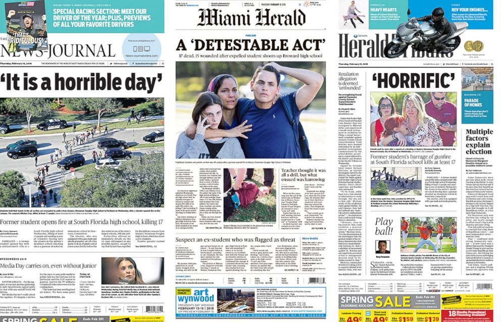 how florida newspaper front pages stack up in coverage of school massacre