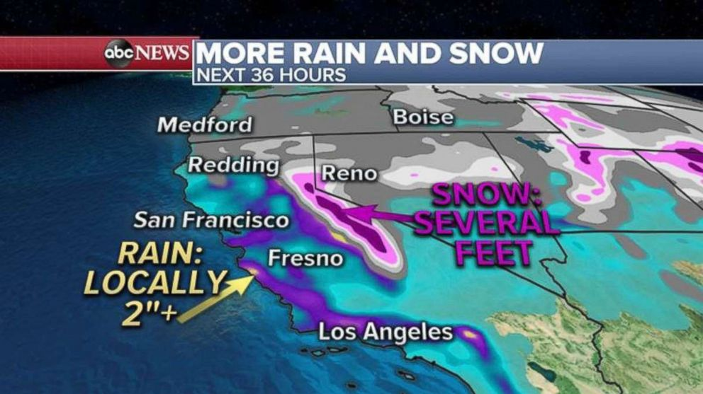 PHOTO: Flooded areas around Sonoma County are looking at another 2 inches of snow as the Sierra Nevadas face another several feet of snow.