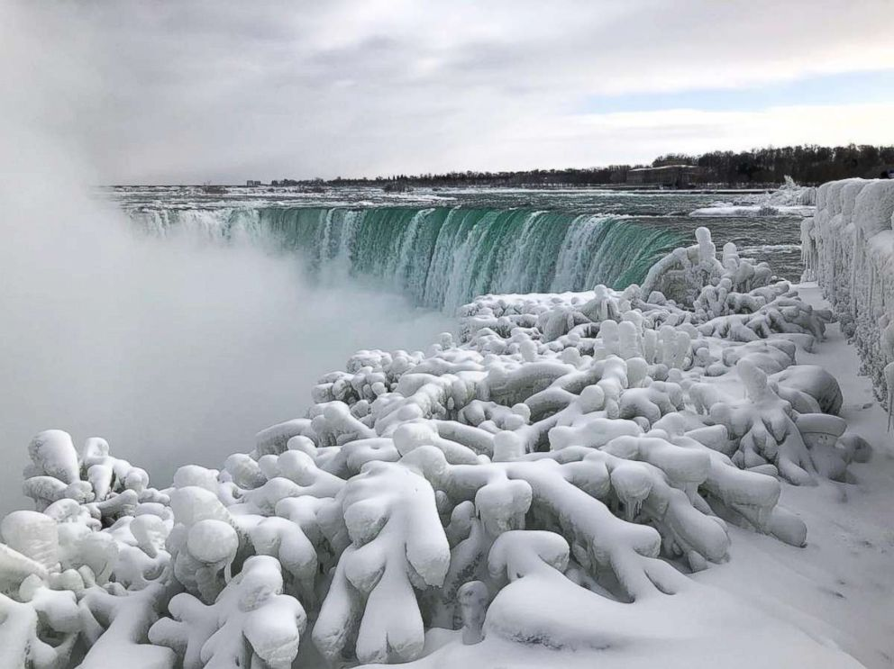 Niagara Falls as seen from the Canadian side in Ontario shows signs of freezing during extreme cold weather, Jan. 21, 2019.
