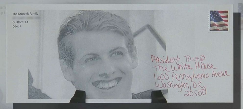 PHOTO: Nick KruczekS photo appears on an envelope his mother, Sue Kruczek, is sending to President Donald Trump.