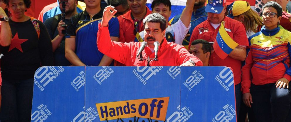 PHOTO: Venezuelan President Nicolas Maduro speaks during a pro-government march in Caracas, on Feb. 23, 2019.