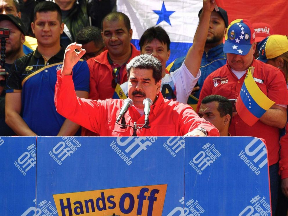 PHOTO: Venezuelan President Nicolas Maduro speaks during a pro-government march in Caracas, Feb. 23, 2019.