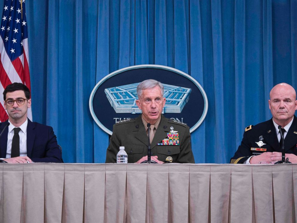 PHOTO: From left, Robert Karem, Thomas Waidhauser and Roger Cloutier Jr. speak during a press briefing at the Pentagon in Washington, May 10, 2018.
