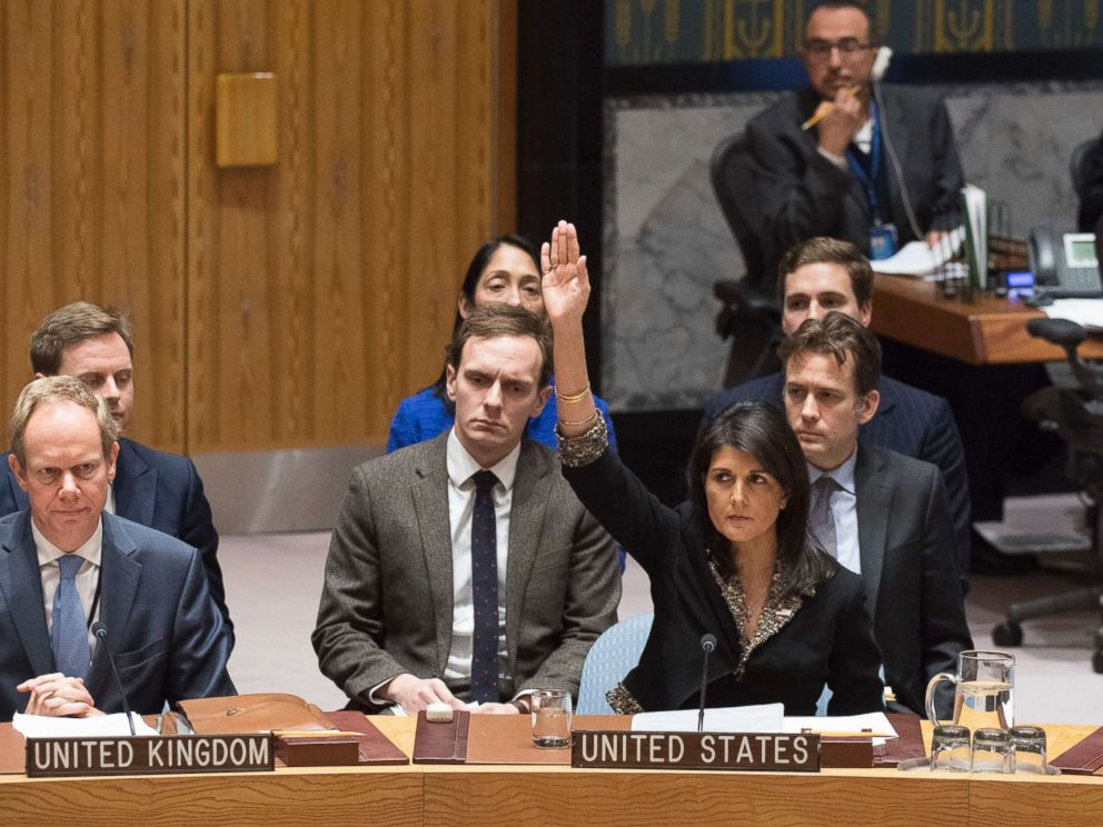 PHOTO: U.S. Ambassador to the United Nations Nikki Haley, right, votes against a resolution concerning Jerusalems status at U.N. headquarters, Dec. 18, 2017.