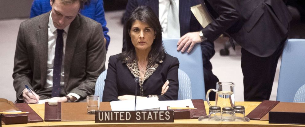 PHOTO: U.S. ambassador to the United Nations Nikki Haley listens during a Security Council meeting concerning the situation in the Middle East involving Israel and Palestine, at United Nations headquarters, Dec. 18, 2017 in New York City.