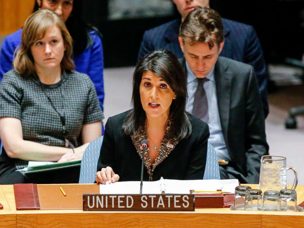 PHOTO: US Ambassador to the UN Nikki Haley speaks during a UN Security Council meeting over the situation in the Middle East on Dec. 18, 2017, at UN Headquarters in New York.