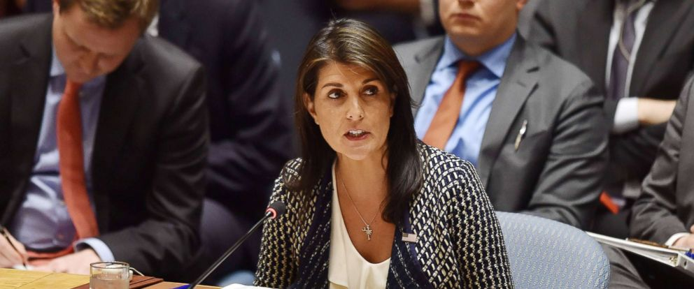 PHOTO: US ambassador to the United Nations, Nikki Haley speaks during a UN Security Council meeting, at United Nations Headquarters in New York, on April 13, 2018.