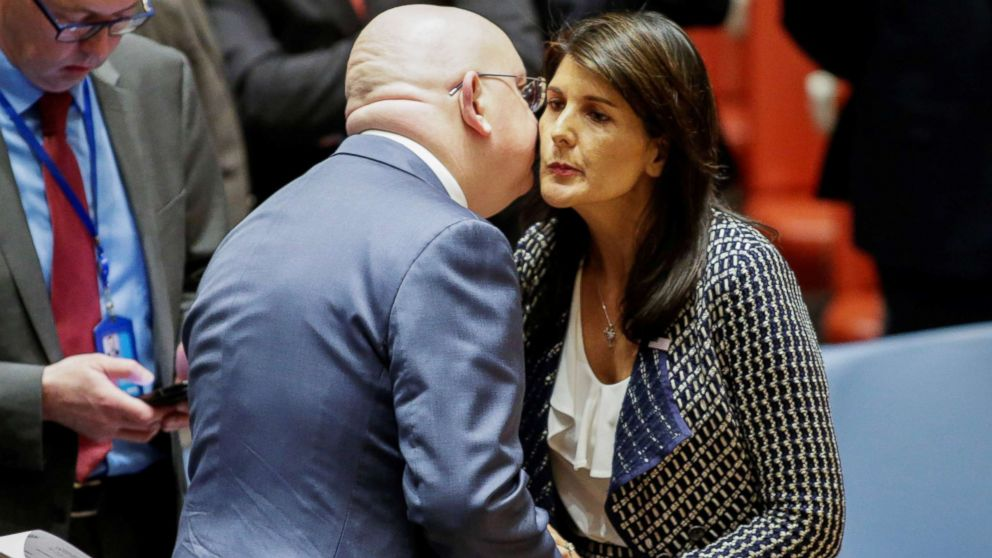 United States Ambassador to the United Nations Nikki Haley greets Russian Ambassador to the United Nations Vasily Nebenzya before the United Nations Security Council meeting on Syria at the U.N. headquarters in New York, April 13, 2018.
