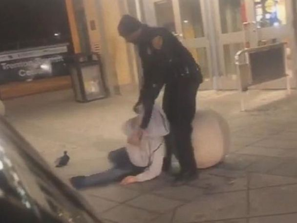 PHOTO: A New Jersey Transit police officer is under investigation after a cell phone video surfaced showing him apparently dragging, cursing and hitting a man who appeared to be passed out in front of the Trenton Transit Center, March 9, 2019.