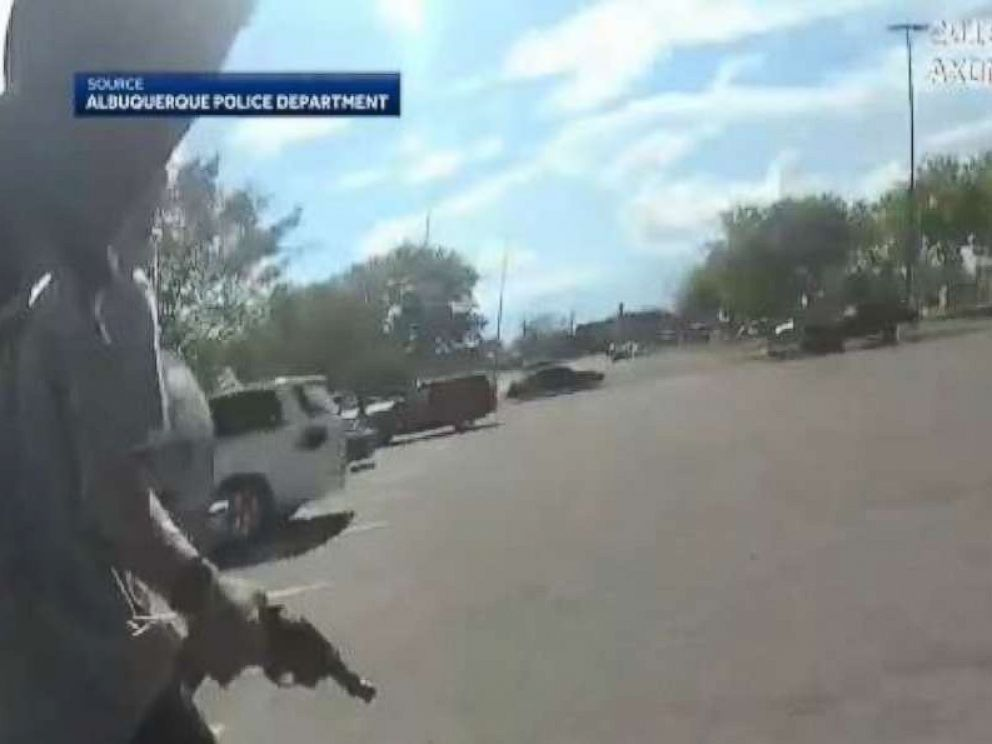 A suspect opened fire on police after he was chased from a Walmart for a suspect shoplifting on Friday, Aug. 24, 2018, in Albuquerque, N.M.